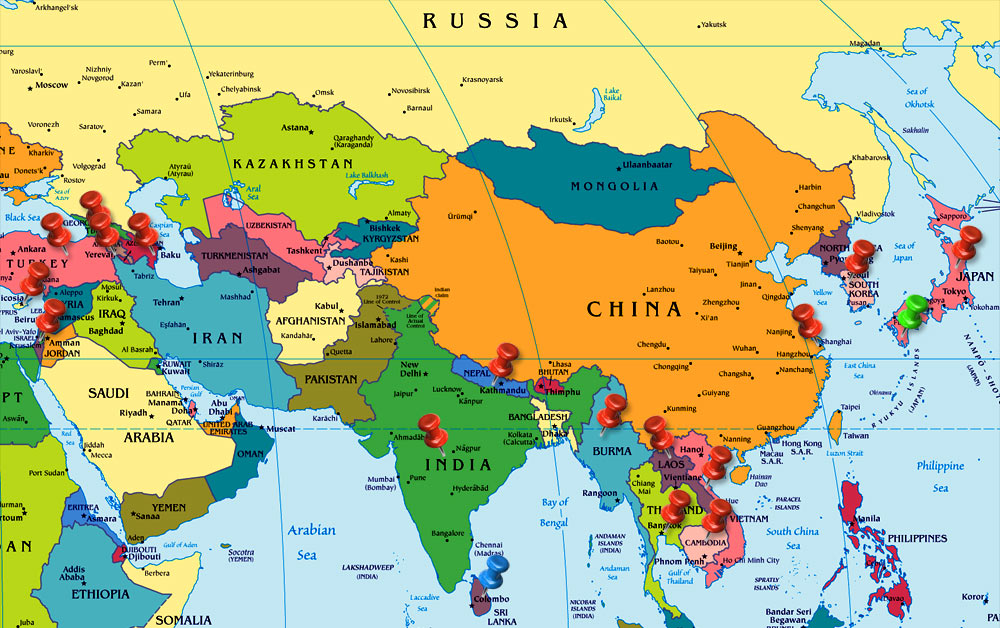 Map Of Middle East And Asia Oxygen Group Photography : Asia & The Middle East Map Of Middle East And Asia